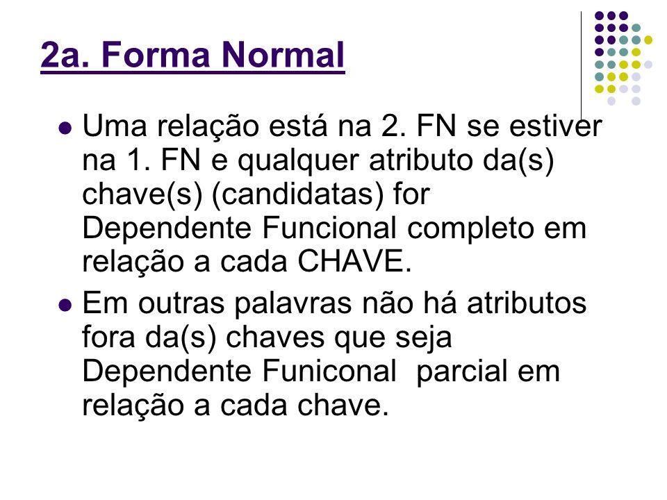 2a. Forma Normal Uma relação está na 2. FN se estiver na 1. FN e qualquer atributo da(s) chave(s) (candidatas) for Dependente Funcional completo em re