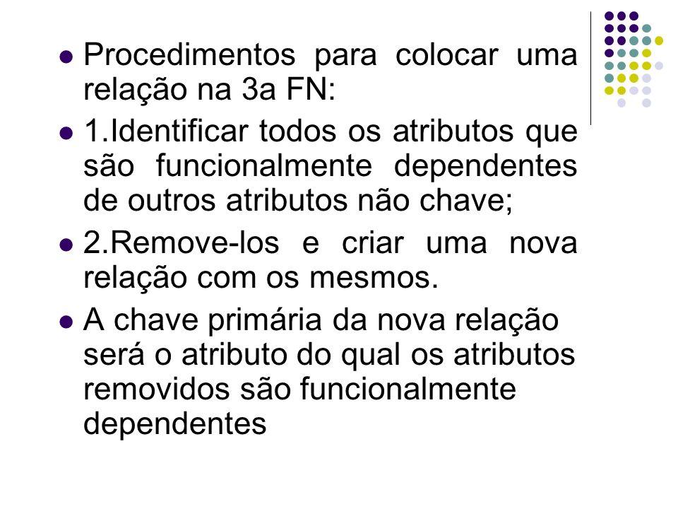 Procedimentos para colocar uma relação na 3a FN: 1.Identificar todos os atributos que são funcionalmente dependentes de outros atributos não chave; 2.
