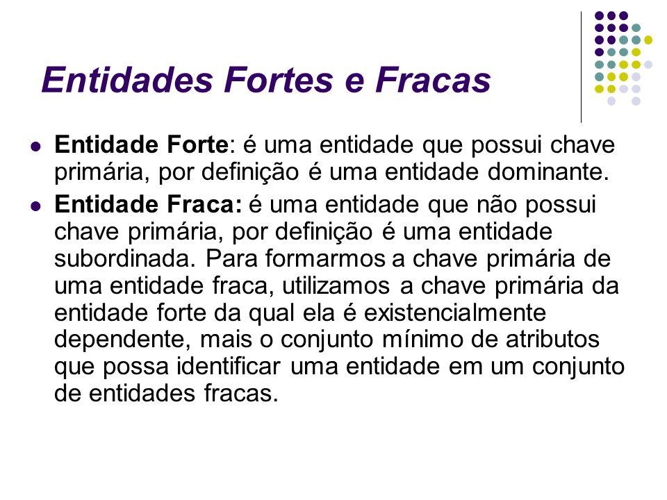 Entidades Fortes e Fracas Entidade Forte: é uma entidade que possui chave primária, por definição é uma entidade dominante. Entidade Fraca: é uma enti