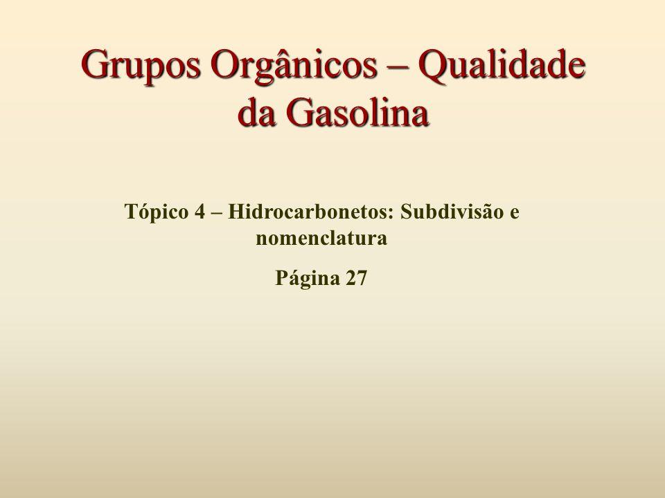 Grupos Orgânicos – Qualidade da Gasolina Tópico 4 – Hidrocarbonetos: Subdivisão e nomenclatura Página 27