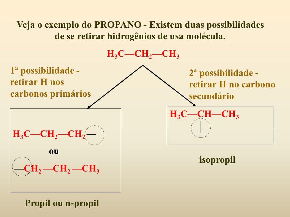 Veja o exemplo do PROPANO - Existem duas possibilidades de se retirar hidrogênios de usa molécula. H 3 CCH 2 CH 3 1ª possibilidade - retirar H nos car