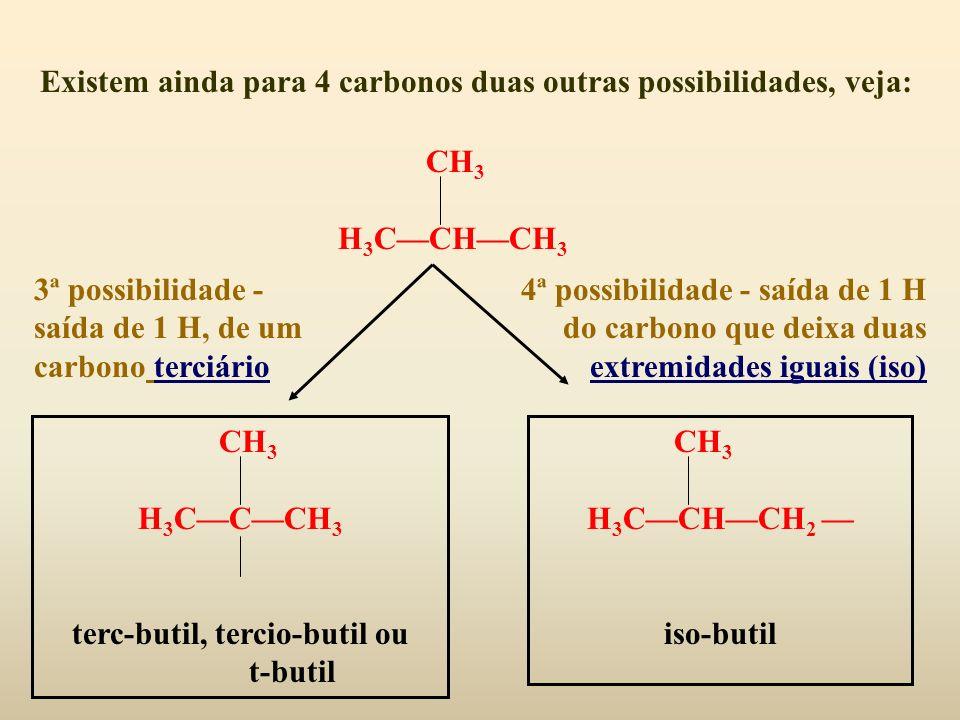 Existem ainda para 4 carbonos duas outras possibilidades, veja: CH 3 H 3 CCHCH 3 3ª possibilidade - saída de 1 H, de um carbono terciário 4ª possibili
