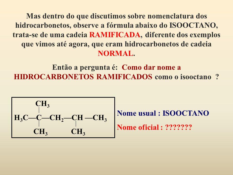 Mas dentro do que discutimos sobre nomenclatura dos hidrocarbonetos, observe a fórmula abaixo do ISOOCTANO, trata-se de uma cadeia RAMIFICADA, diferen