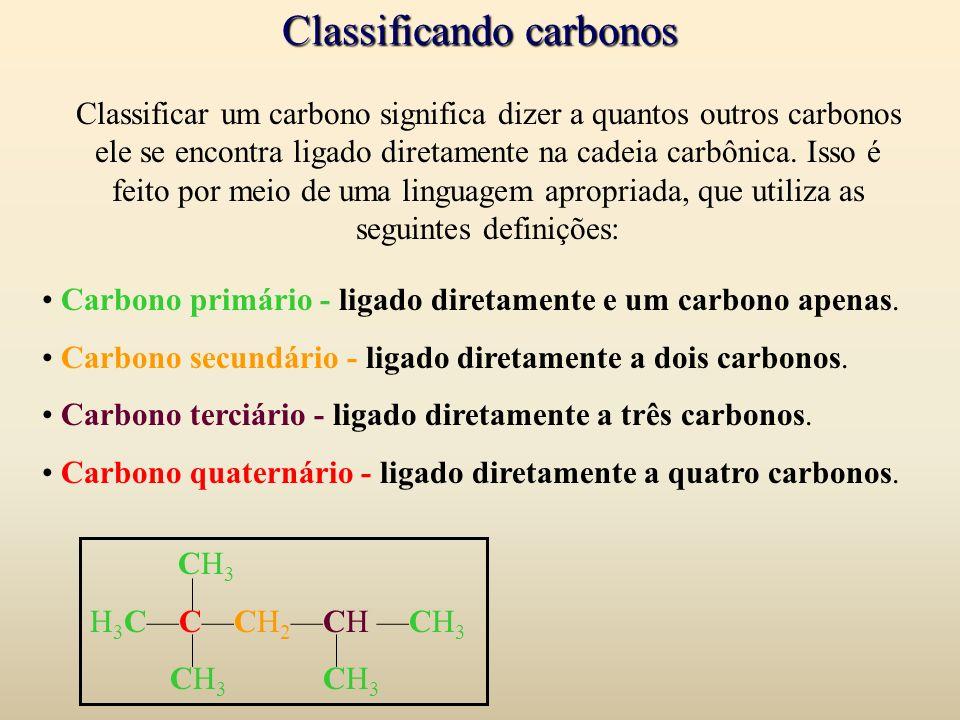 Classificando carbonos Carbono primário - ligado diretamente e um carbono apenas. Carbono secundário - ligado diretamente a dois carbonos. Carbono ter