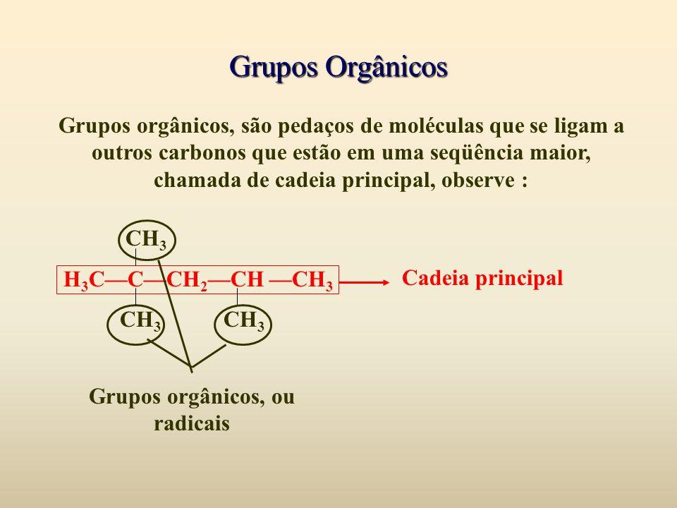 Grupos Orgânicos Grupos orgânicos, são pedaços de moléculas que se ligam a outros carbonos que estão em uma seqüência maior, chamada de cadeia princip