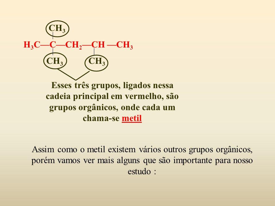 CH 3 H 3 CCCH 2 CH CH 3 CH 3 CH 3 Esses três grupos, ligados nessa cadeia principal em vermelho, são grupos orgânicos, onde cada um chama-se metil Ass