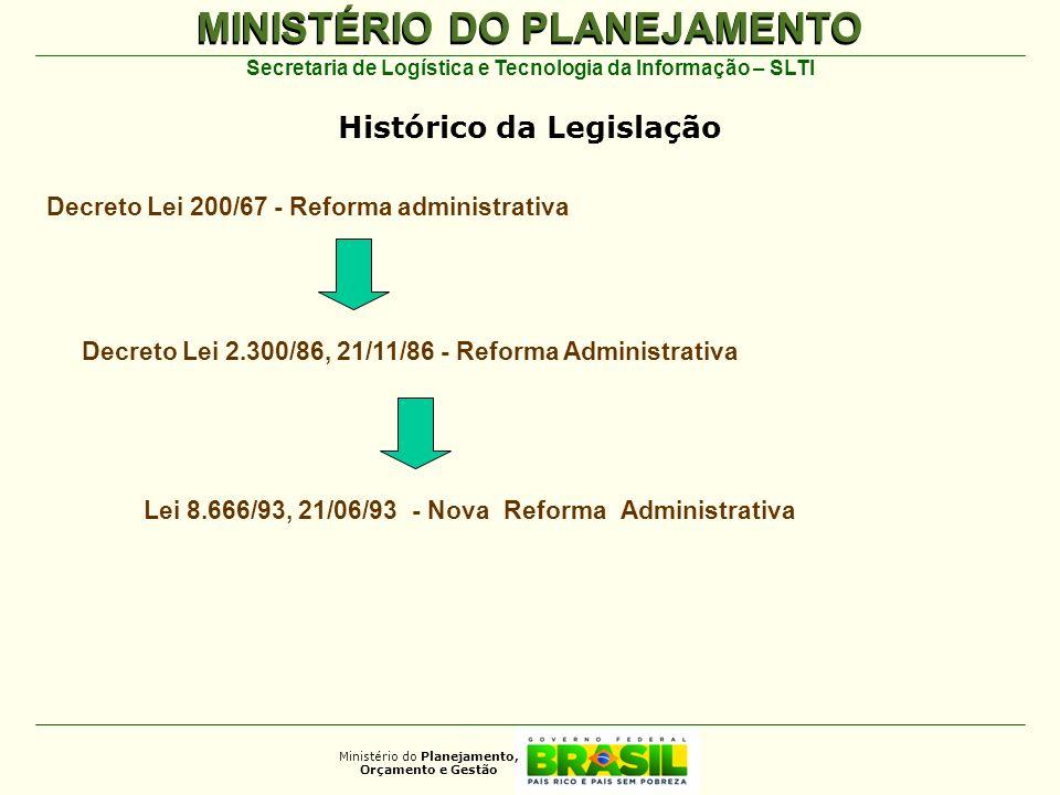 MINISTÉRIO DO PLANEJAMENTO Ministério do Planejamento, Orçamento e Gestão Secretaria de Logística e Tecnologia da Informação – SLTI Lei 8.666/93, 21/0