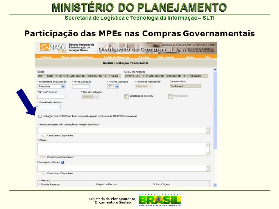 MINISTÉRIO DO PLANEJAMENTO Ministério do Planejamento, Orçamento e Gestão Secretaria de Logística e Tecnologia da Informação – SLTI Participação das M