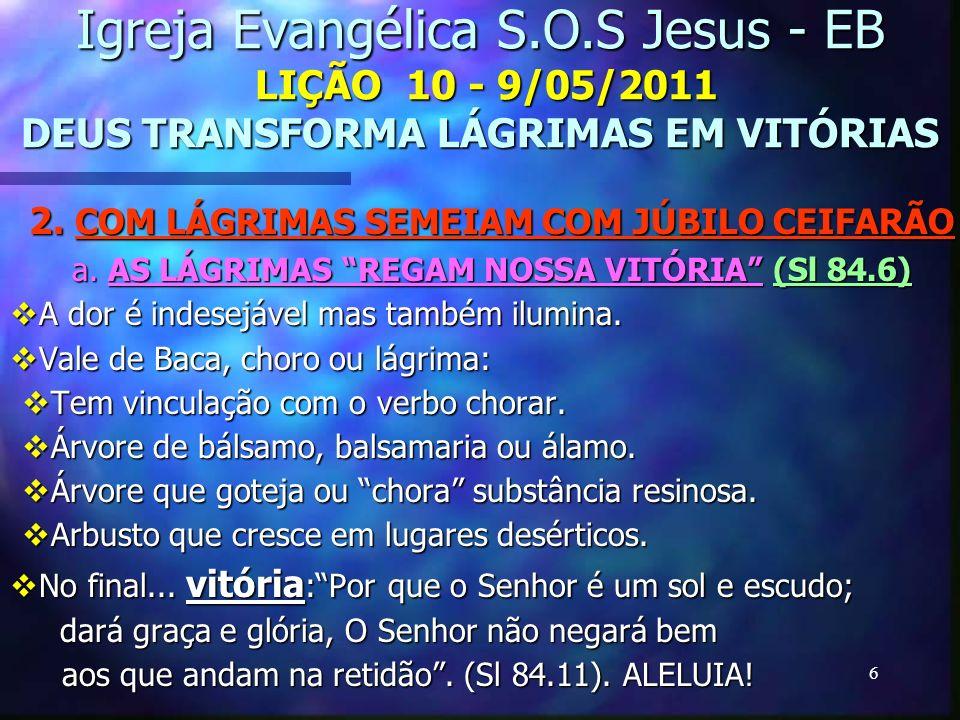 6 Igreja Evangélica S.O.S Jesus - EB LIÇÃO 10 - 9/05/2011 DEUS TRANSFORMA LÁGRIMAS EM VITÓRIAS 2. COM LÁGRIMAS SEMEIAM COM JÚBILO CEIFARÃO a. AS LÁGRI