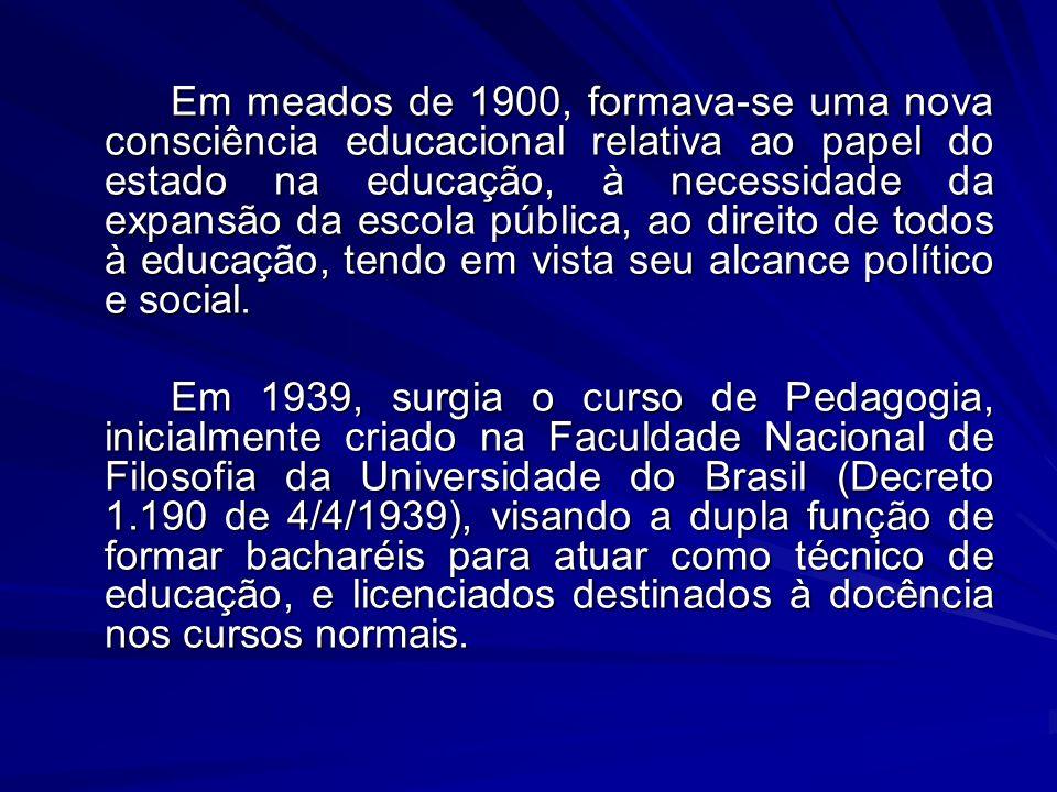 Em meados de 1900, formava-se uma nova consciência educacional relativa ao papel do estado na educação, à necessidade da expansão da escola pública, ao direito de todos à educação, tendo em vista seu alcance político e social.