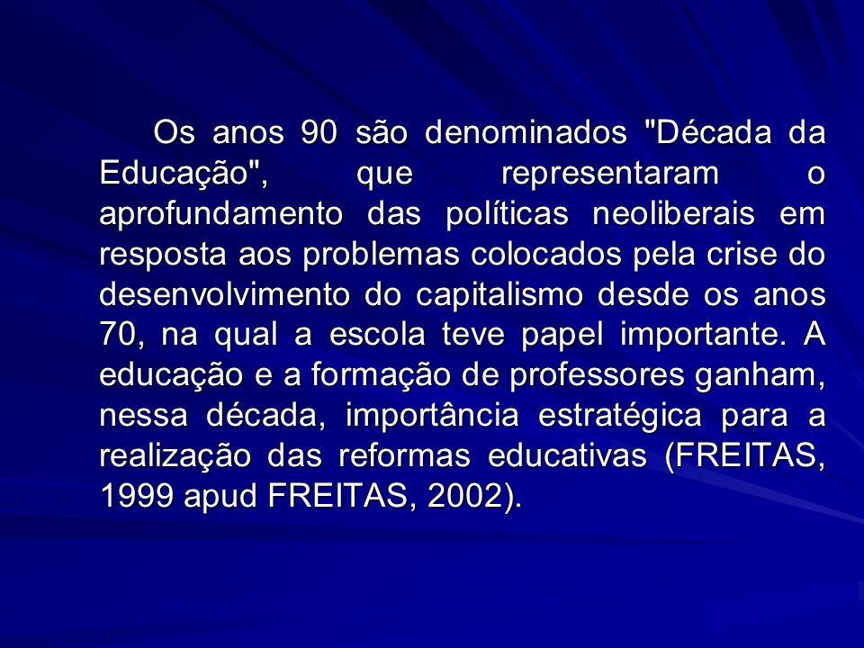 Os anos 90 são denominados Década da Educação , que representaram o aprofundamento das políticas neoliberais em resposta aos problemas colocados pela crise do desenvolvimento do capitalismo desde os anos 70, na qual a escola teve papel importante.