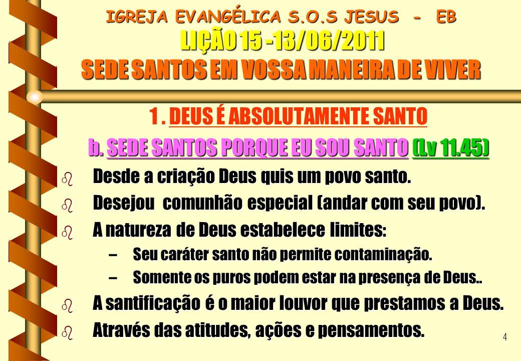 15 IGREJA EVANGÉLICA S.O.S JESUS - EB LIÇÃO 15 -13/06/2011 SEDE SANTOS EM VOSSA MANEIRA DE VIVER IGREJA EVANGÉLICA S.O.S JESUS - EB LIÇÃO 15 -13/06/2011 SEDE SANTOS EM VOSSA MANEIRA DE VIVER CONCLUSÃO b A verdadeira santificação requer: Profunda comunhão com Cristo.Profunda comunhão com Cristo.