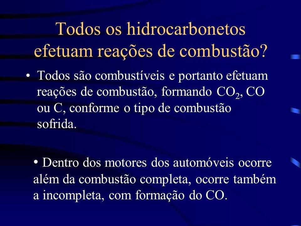 Todos os hidrocarbonetos efetuam reações de combustão? Todos são combustíveis e portanto efetuam reações de combustão, formando CO 2, CO ou C, conform