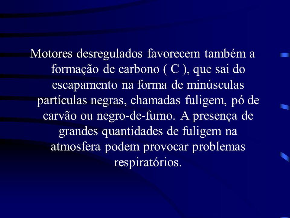 Motores desregulados favorecem também a formação de carbono ( C ), que sai do escapamento na forma de minúsculas partículas negras, chamadas fuligem,