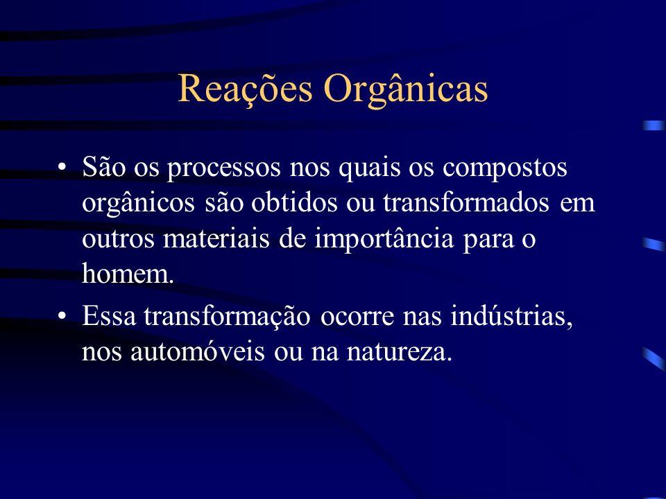 Reações Orgânicas São os processos nos quais os compostos orgânicos são obtidos ou transformados em outros materiais de importância para o homem. Essa