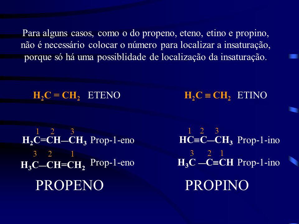 Para alguns casos, como o do propeno, eteno, etino e propino, não é necessário colocar o número para localizar a insaturação, porque só há uma possibl