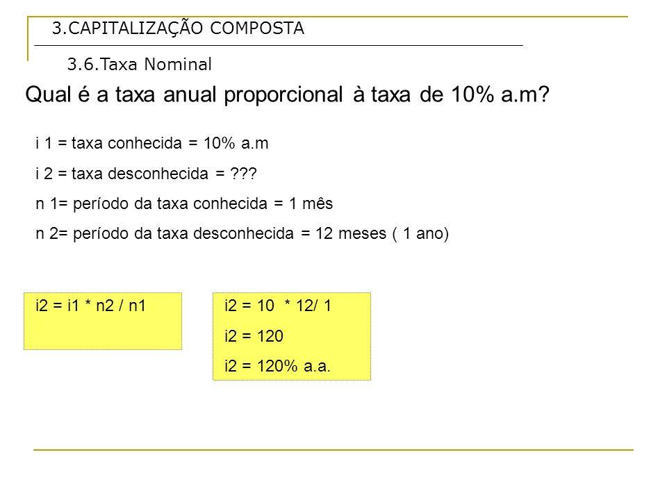 3.CAPITALIZAÇÃO COMPOSTA Qual é a taxa anual proporcional à taxa de 10% a.m? 3.6.Taxa Nominal i 1 = taxa conhecida = 10% a.m i 2 = taxa desconhecida =