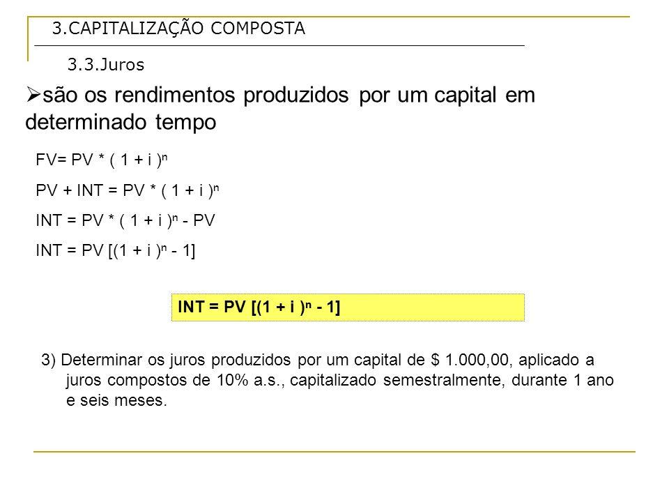 3.CAPITALIZAÇÃO COMPOSTA são intervalos de tempo preestabelecidos, findos os quais são calculados os juros que, somados ao capital, formam um novo valor atual, valor presente.