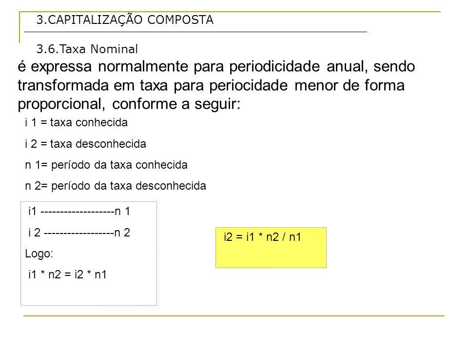 3.CAPITALIZAÇÃO COMPOSTA é expressa normalmente para periodicidade anual, sendo transformada em taxa para periocidade menor de forma proporcional, con