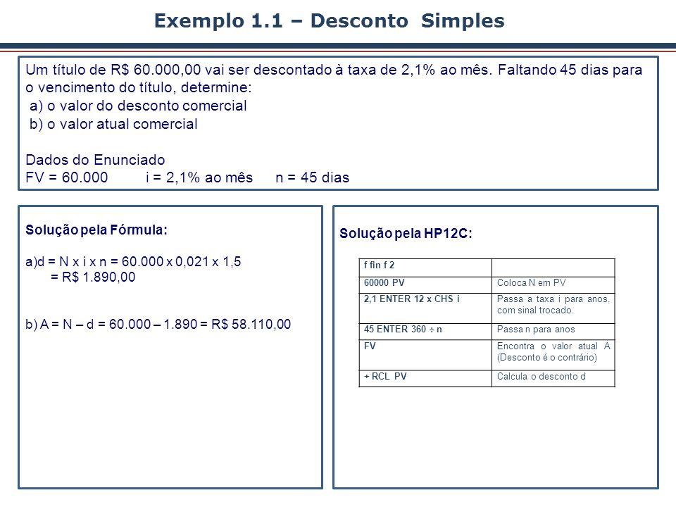 Exemplo 1.1 – Desconto Simples Um título de R$ 60.000,00 vai ser descontado à taxa de 2,1% ao mês. Faltando 45 dias para o vencimento do título, deter