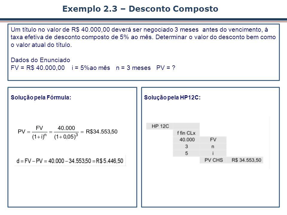 Solução pela HP12C: Solução pela Fórmula: Exemplo 2.3 – Desconto Composto Um título no valor de R$ 40.000,00 deverá ser negociado 3 meses antes do ven