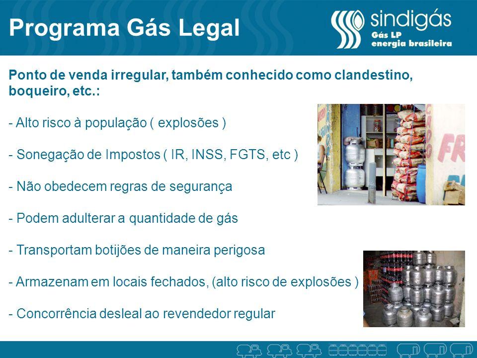 Programa Gás Legal Ponto de venda irregular, também conhecido como clandestino, boqueiro, etc.: - Alto risco à população ( explosões ) - Sonegação de