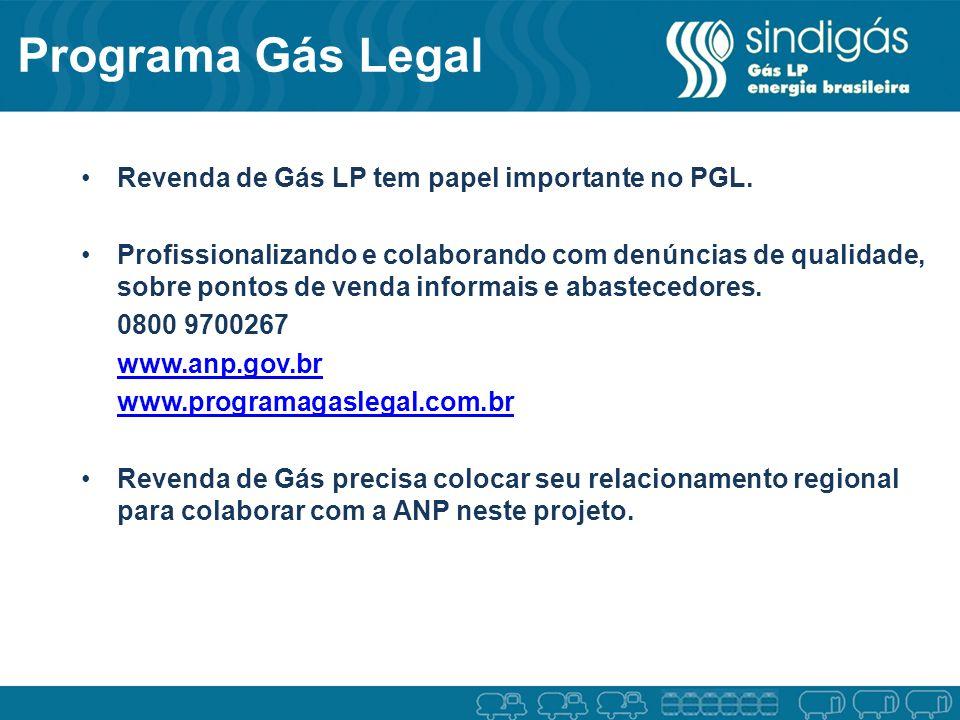 Revenda de Gás LP tem papel importante no PGL. Profissionalizando e colaborando com denúncias de qualidade, sobre pontos de venda informais e abastece