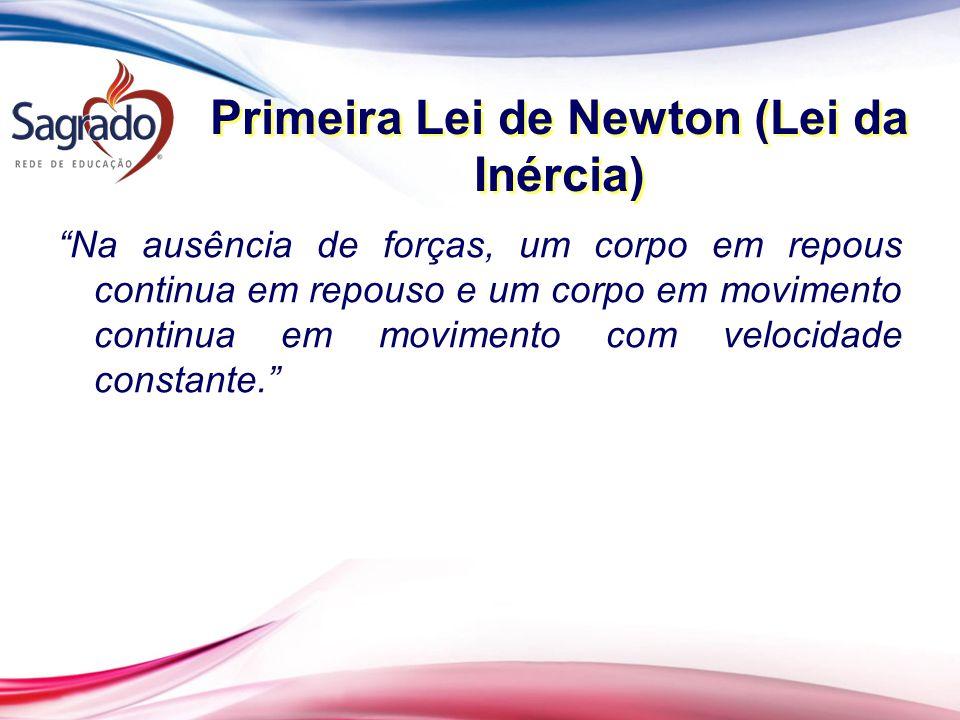 Primeira Lei de Newton (Lei da Inércia) Na ausência de forças, um corpo em repous continua em repouso e um corpo em movimento continua em movimento com velocidade constante.