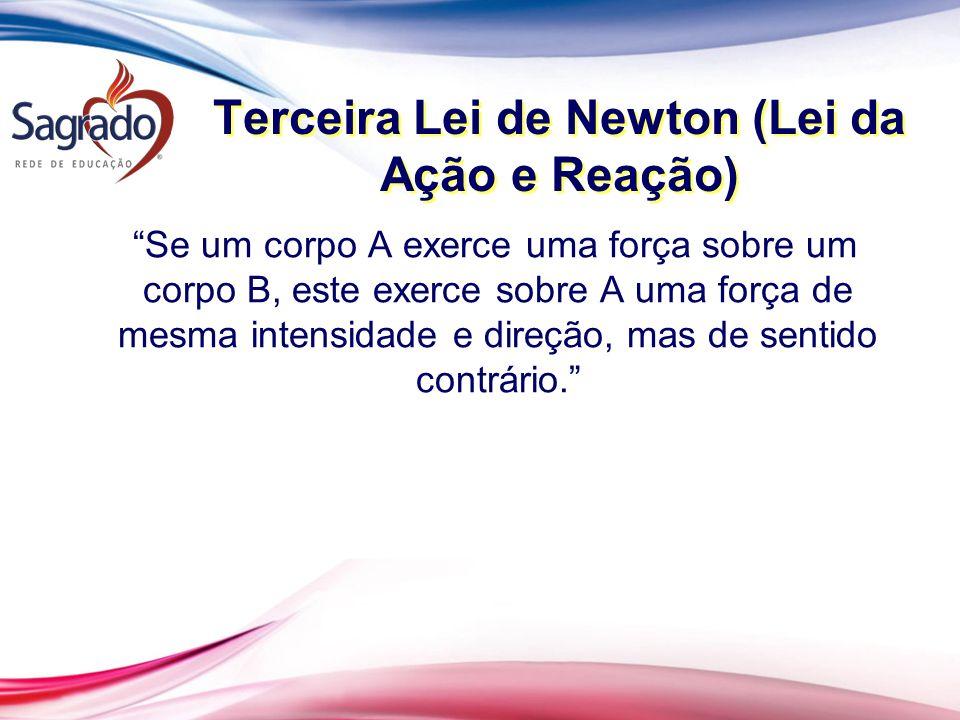 Terceira Lei de Newton (Lei da Ação e Reação) Se um corpo A exerce uma força sobre um corpo B, este exerce sobre A uma força de mesma intensidade e direção, mas de sentido contrário.