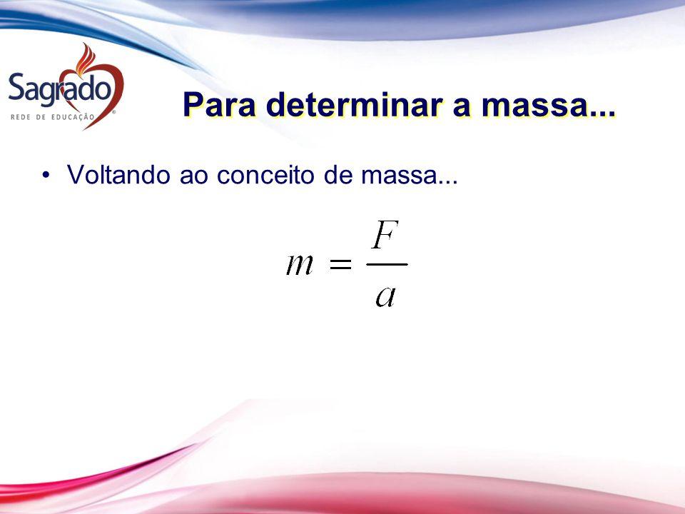 Para determinar a massa... Voltando ao conceito de massa...