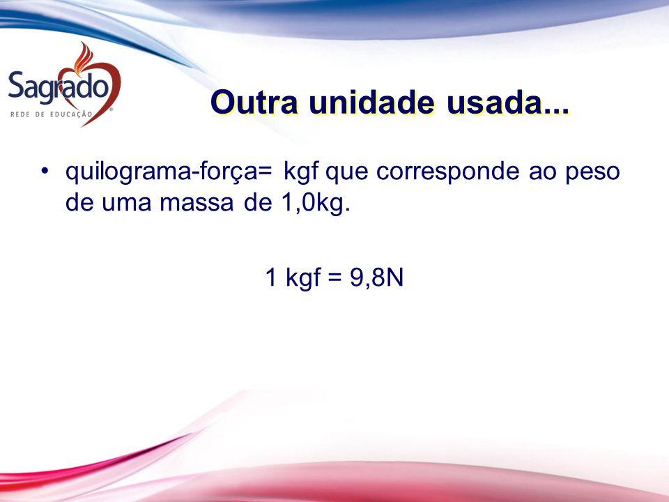 Outra unidade usada... quilograma-força= kgf que corresponde ao peso de uma massa de 1,0kg. 1 kgf = 9,8N