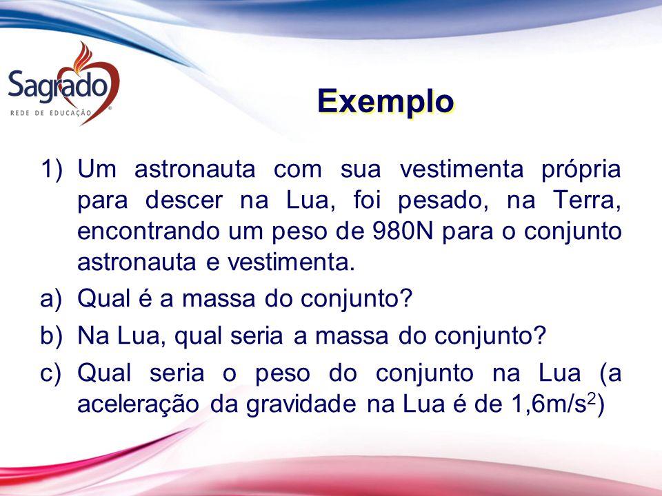 Exemplo 1)Um astronauta com sua vestimenta própria para descer na Lua, foi pesado, na Terra, encontrando um peso de 980N para o conjunto astronauta e vestimenta.