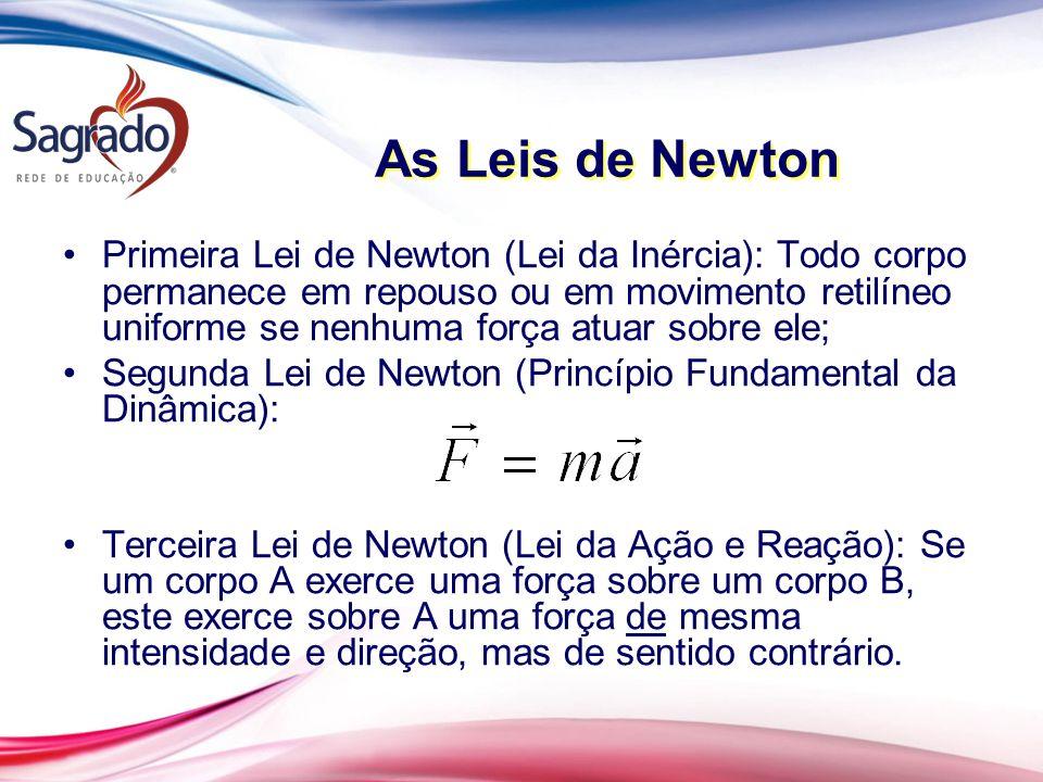 As Leis de Newton Primeira Lei de Newton (Lei da Inércia): Todo corpo permanece em repouso ou em movimento retilíneo uniforme se nenhuma força atuar sobre ele; Segunda Lei de Newton (Princípio Fundamental da Dinâmica): Terceira Lei de Newton (Lei da Ação e Reação): Se um corpo A exerce uma força sobre um corpo B, este exerce sobre A uma força de mesma intensidade e direção, mas de sentido contrário.