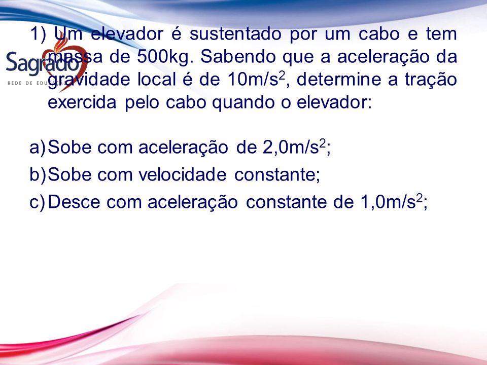 1) Um elevador é sustentado por um cabo e tem massa de 500kg. Sabendo que a aceleração da gravidade local é de 10m/s 2, determine a tração exercida pe
