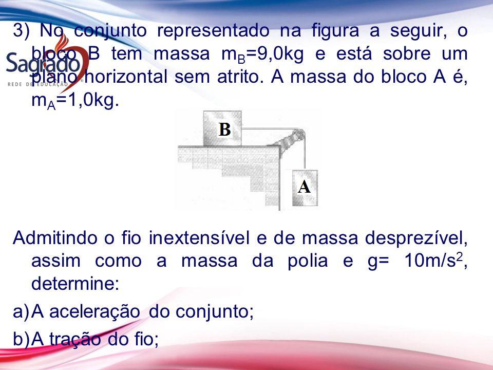 3) No conjunto representado na figura a seguir, o bloco B tem massa m B =9,0kg e está sobre um plano horizontal sem atrito. A massa do bloco A é, m A