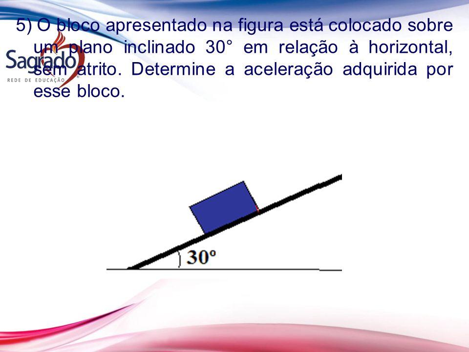 5) O bloco apresentado na figura está colocado sobre um plano inclinado 30° em relação à horizontal, sem atrito. Determine a aceleração adquirida por