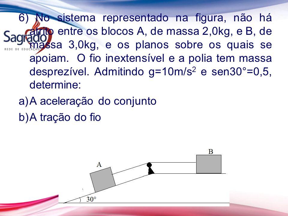 6) No sistema representado na figura, não há atrito entre os blocos A, de massa 2,0kg, e B, de massa 3,0kg, e os planos sobre os quais se apoiam.