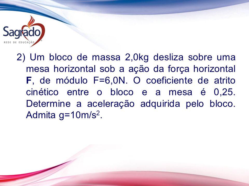 2) Um bloco de massa 2,0kg desliza sobre uma mesa horizontal sob a ação da força horizontal F, de módulo F=6,0N.