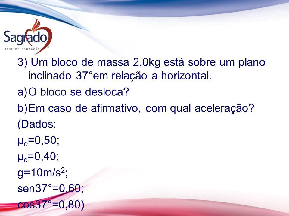 3) Um bloco de massa 2,0kg está sobre um plano inclinado 37°em relação a horizontal.