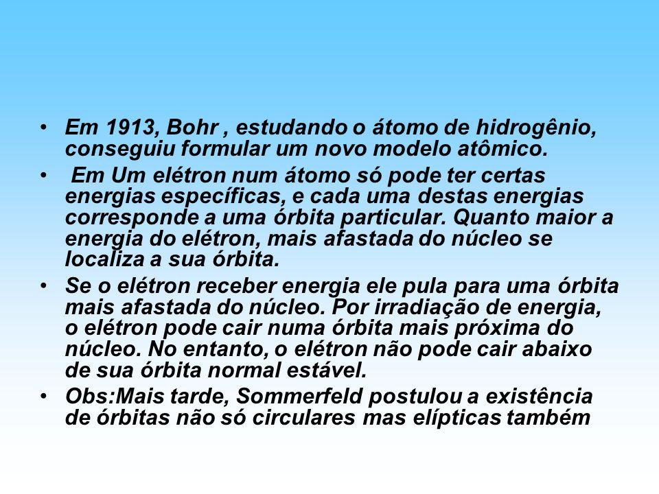Em 1913, Bohr, estudando o átomo de hidrogênio, conseguiu formular um novo modelo atômico. Em Um elétron num átomo só pode ter certas energias específ