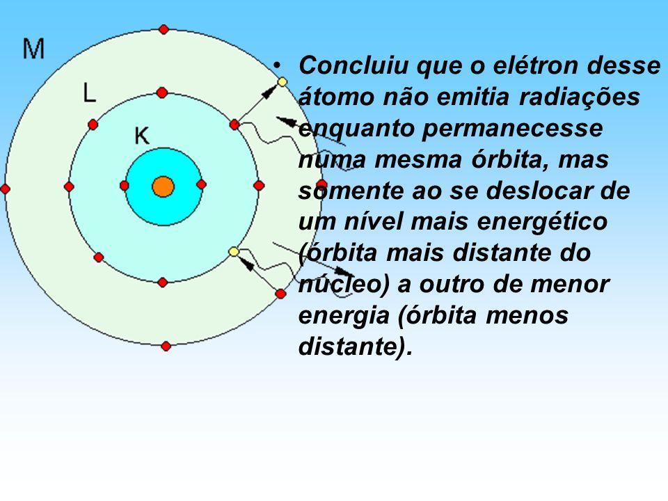 Concluiu que o elétron desse átomo não emitia radiações enquanto permanecesse numa mesma órbita, mas somente ao se deslocar de um nível mais energétic