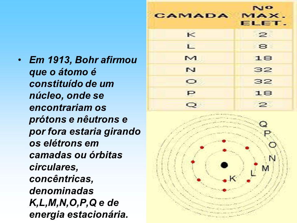 Em 1913, Bohr afirmou que o átomo é constituído de um núcleo, onde se encontrariam os prótons e nêutrons e por fora estaria girando os elétrons em cam