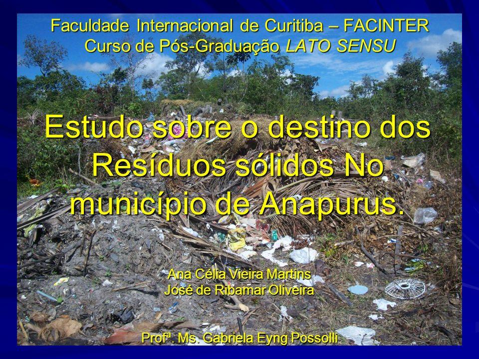 Considerações finais Ao realizarmos este trabalho monográfico nos predispomos a analisar esta questão no município de Anapurus, um dos menores da federação, mas já com grande problema quanto ao lixo.