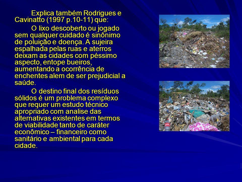 Explica também Rodrigues e Cavinatto (1997 p.10-11) que: O lixo descoberto ou jogado sem qualquer cuidado é sinônimo de poluição e doença. A sujeira e