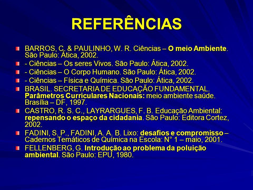 REFERÊNCIAS BARROS, C. & PAULINHO, W. R. Ciências – O meio Ambiente. São Paulo: Ática, 2002. - Ciências – Os seres Vivos. São Paulo: Ática, 2002. - Ci