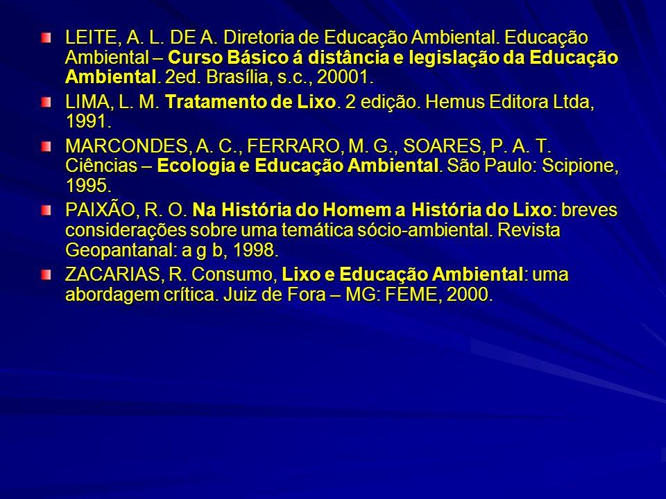LEITE, A. L. DE A. Diretoria de Educação Ambiental. Educação Ambiental – Curso Básico á distância e legislação da Educação Ambiental. 2ed. Brasília, s