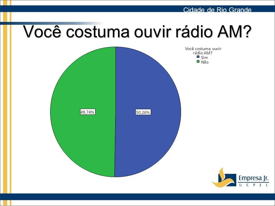Você costuma ouvir rádio AM.49,74% 50,26% Não Sim Você costuma ouvir rádio AM.