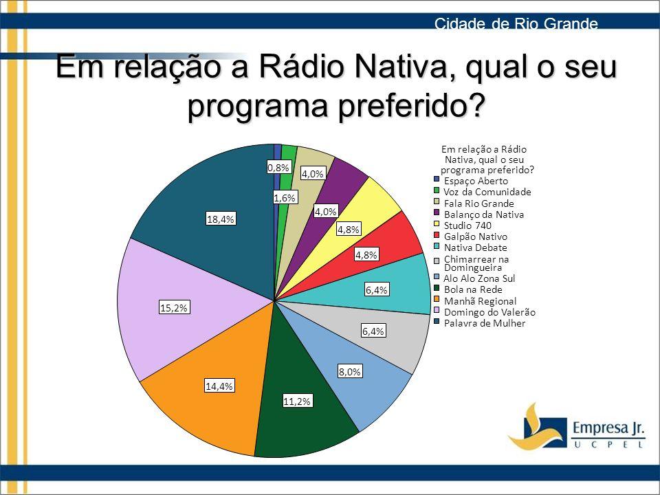 Em relação a Rádio Nativa, qual o seu programa preferido.