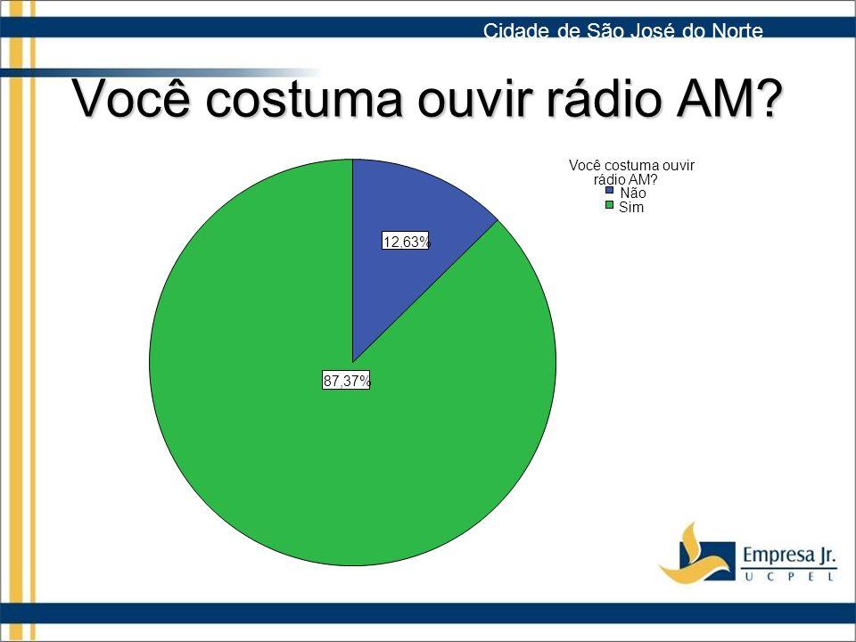 Você costuma ouvir rádio AM.87,37% 12,63% Sim Não Você costuma ouvir rádio AM.