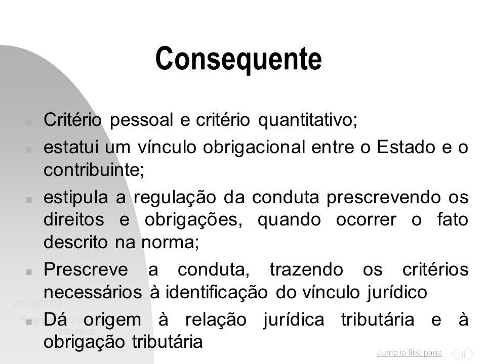 Jump to first page 23/10/2002 Regra-matriz de incidência tributária 10 Consequente n Critério pessoal e critério quantitativo; n estatui um vínculo ob